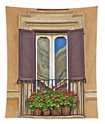 Romantic Balcony With Red Flowers In Rome Tapestry