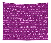 Rome In Words Pink Tapestry
