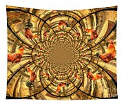 Crowing Rooster Kaleidoscope Tapestry