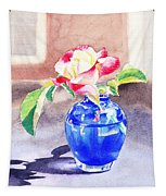 Rose In The Blue Vase  Tapestry