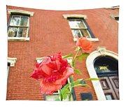 Rose On Brownstone Tapestry