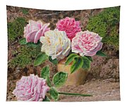 Roses In An Earthenware Vase By A Mossy Tapestry
