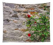 Roses On A Stone Wall Tapestry