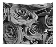 Roses On Your Wall Black And White  Tapestry