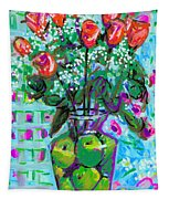 Roses With Apples Tapestry