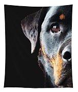 Rottie Love - Rottweiler Art By Sharon Cummings Tapestry