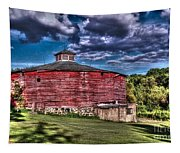 Round Red Barn Tapestry