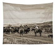 Rounding Up Cattle In Cornville Arizona Sepia Tapestry