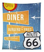 Route 66 Diner Tapestry by Linda Woods