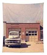 Route 66 Garage Tapestry