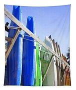 Row Of Kayaks Tapestry