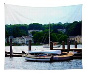 Rowboats Piled At Dock Tapestry
