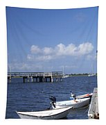 Rowboats Tied To Dock Tapestry
