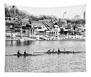 Rowing Along The Schuylkill River In Black And White Tapestry