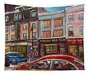 Rue Saint Laurent Club Soda Montreal Tapestry