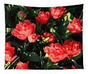 Ruffly Red Tulips Square Tapestry