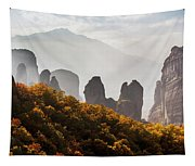 Rugged Cliffs And A Monastery  Meteora Tapestry