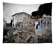 Ruins Of An Abandoned Farm House Tapestry