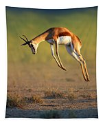 Running Springbok Jumping High Tapestry by Johan Swanepoel