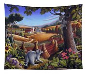 Rural Country Farm Life Landscape Folk Art Raccoon Squirrel Rustic Americana Scene  Tapestry