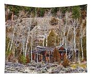 Rural Rustic Rundown Rocky Mountain Cabin Tapestry