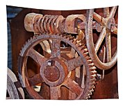 Rust Gears And Wheels Tapestry