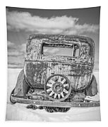 Rusty Old Car In The Snow Tapestry