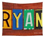 Ryan License Plate Name Sign Fun Kid Room Decor. Tapestry
