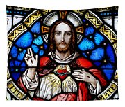 Sacred Heart Of Jesus In Stained Glass Tapestry