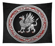 Sacred Silver Griffin On Black Leather Tapestry