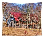 Sad Barn -  Featured In 'old Buildings And Ruins' Tapestry