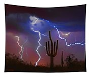 Saguaro Lightning Nature Fine Art Photograph Tapestry