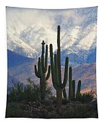 Saguaros And Snow Tapestry
