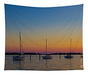 Sailboats At Sunset Clinton Connecticut Tapestry
