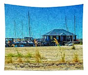 Sailboats Boat Harbor - Quiet Day At The Harbor Tapestry