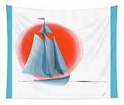 Sailing Red Sun Tapestry