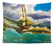 Sailing Ship In A Storm Tapestry