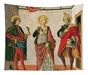 Saint Cecilia Between Saint Valerian And Saint Tiburtius With A Donor Tapestry