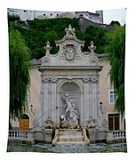 Salzburg Castle With Fountain Tapestry