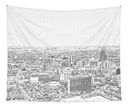 San Antonio Downtown Lineart Tapestry