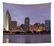 San Diego Skyline At Dusk Panoramic Tapestry