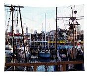 San Francisco Behind The Masts Tapestry