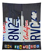 San Francisco California Skyline License Plate Art Tapestry by Design Turnpike