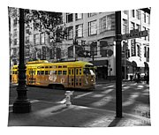 San Francisco Vintage Streetcar On Market Street - 5d19798 - Black And White And Yellow Tapestry