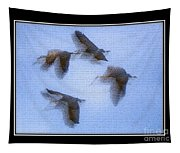 Sandhill Cranes In Flight Tapestry
