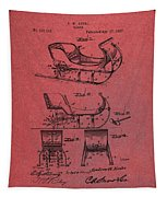 Santa Claus Sleigh Patent Red Tapestry by Dan Sproul