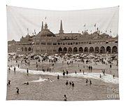 Santa Cruz Beach From Pleasure Pier  California Circa 1908 Tapestry
