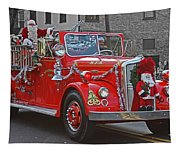 Santa On Fire Truck Tapestry