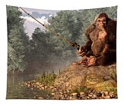 Sasquatch Goes Fishing Tapestry