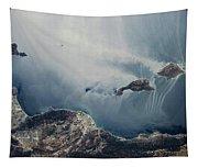 Satellite View Of California Coastline Tapestry